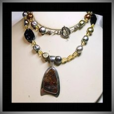 Navajo Sterling Silver Pietersite Pendant on Necklace of Pietersite, Citrine & Pearls