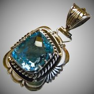 Stunning Blue Topaz and Sterling Silver Pendant