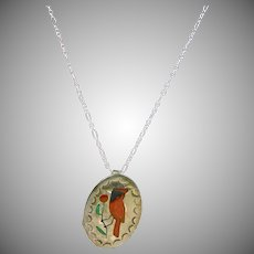 Zuni Sterling Silver Pin/Pendant of Red Cardinal on Sterling Silver Chain