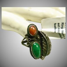 Malachite and Coral Sterling Silver Ring