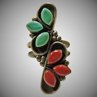 Sterling Silver Coral and Turquoise Ring
