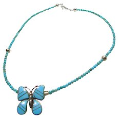 Sterling Silver and Turquoise Butterfly Pendant on Turquoise Necklace