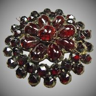 Gilt Bohemian Rose Cut and Cabochon Garnet Pin/Pendant