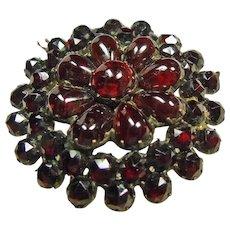 Gilt Bohemian Rose Cut and Cabochon Garnet Pin/Pendant