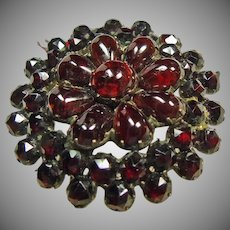 Super!!  Gilt Bohemian Rose Cut and Cabochon Garnet Pin/Pendant