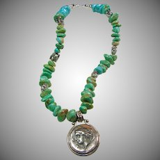 Vintage Turquoise Nugget with Replica Roman Pendant