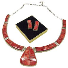 Stunning Alvin Yellowhorse Necklace and Earrings with Spiny Oyster Inlay