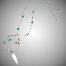 Sterling Silver Dream Catcher Pendant on Liquid Silver and Turquoise Necklace