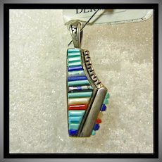 Southwestern Sterling Pendant Decorated with Cobblestone Inlay