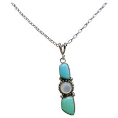 Turquoise and Moonstone Pendant on Sterling Chain