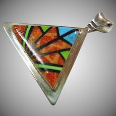 Sterling Silver Triangular Shape Pendant with Stone on Stone Inlay