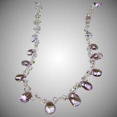 Lavender Amethyst and 'Dice' Shape Natural Quartz Crystal Necklace