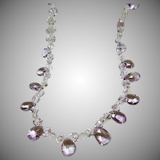 Lavender Amethyst and 'Dice' Shape Natural Quartz Crystal Necklace