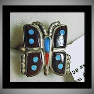 Sterling Silver Butterfly Ring Decorated in Enamel and Turquoise Inlay