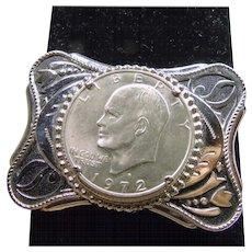 Southwestern NIckle Belt Buckle with 1972 Silver Dollar