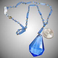 1920's to 1930's Unmarked Czech Blue Glass and Brass Necklace