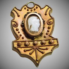 Victorian Shield Shape Locket with Hardstone Cameo
