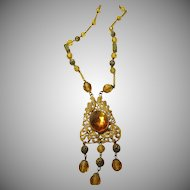 1920's - 1930's Brass Gilt Necklace with Amber Colored Pressed Glass