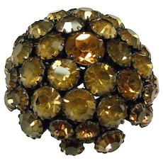 Warner Domed Bronze Rhinestone Brooch