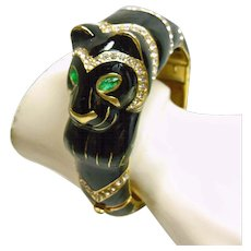 Ciner Black Panther Clamper Bracelet - Red Tag Sale Item