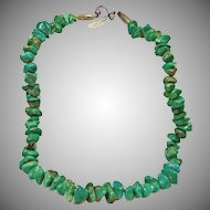 Beautiful Green Turquoise Nugget Necklace