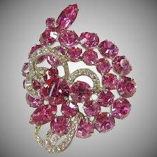 Weiss Hot Pink Rhinestone Brooch