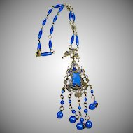 Czech Faux Lapis and Brass 1920s-1930s Necklace
