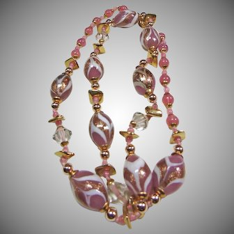 Venetian Pink and White Stripe Beads with Gold Tone Metal