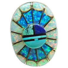 Amy Quandelacy Sterling Silver Sunface Opal Inlay Ring - Red Tag Sale Item