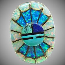 Amy Quandelacy Sterling Silver Sunface Opal Inlay Ring