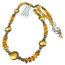 Citrine and Sterling Silver Necklace
