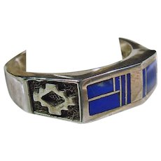 Southwestern Sterling Silver Band Style Ring with Lapis Inlay