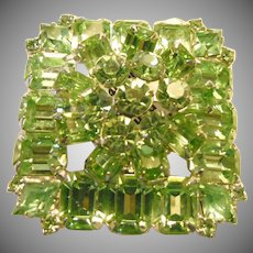 Weiss Two Layer Grass Green Rhinestone Brooch