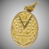 Gold Over Brass Locket with Etruscan Style Decoration