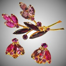 Stunning Hot Pink, Lavender and Red Rhinestone Set