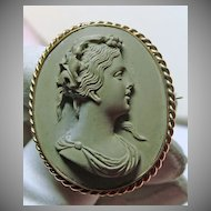 1850s Lava Cameo Brooch of Woman in a Gold Overlay Setting