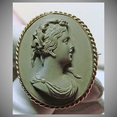 Super!!!!   1850s Lava Cameo Brooch of Woman in a Gold Overlay Setting