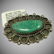 Green Turquoise in Sterling Silver Shadowbox Setting