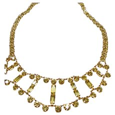 1920-1930 Yellow Crystals in Gold Tone Necklace