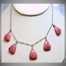 1920s-1930s Brass Necklace with 5 Marbleized Pink Glass Drops