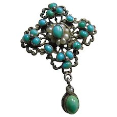 Austro Hungarian Silver Turquoise and Natural Pearls Brooch