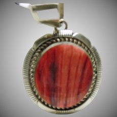 Native American Sterling Silver and Spiny Oyster Pendant