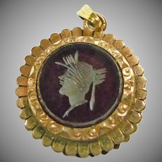 Victorian Gold Filled Watch Fob with Glass Intaglio