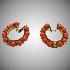 Coral and Gold Over Brass Earrings