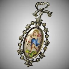 Victorian Locket Back Brooch with Hand Painted Cherub
