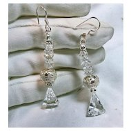 Natural Clear Crystal Quartz Drop Style Earrings in Sterling Silver