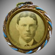 Victorian Photo of Young Man in Brass Frame