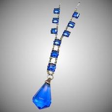 1920s-1930s Cobalt Blue Pendant Style Necklace