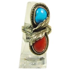 Southwestern Sterling Silver Turquoise and Coral Ring