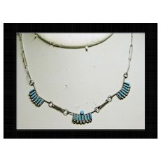 Delicate Zuni Needlepoint Turquoise Necklace in Sterling Silver